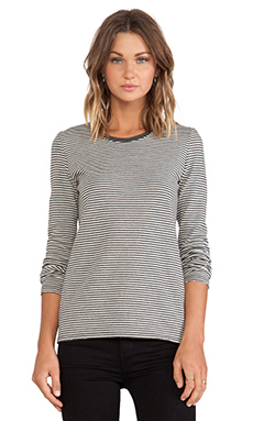 ATM Anthony Thomas Melillo Double Face Stripe Tee in Gray & Cream Stripe
