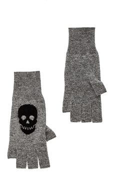Autumn Cashmere Skull Fingerless Gloves in Cement & Black