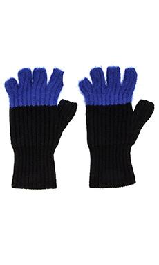 Autumn Cashmere Angora Tipped Fingerless Gloves in Black & Cobalt
