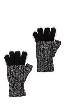 Autumn Cashmere Angora Tipped Fingerless Gloves in Salt n Peppa