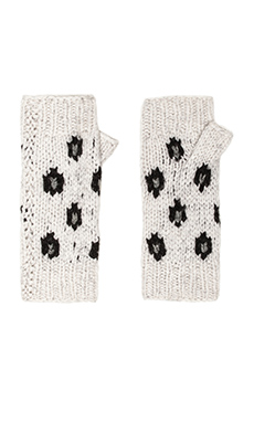 Autumn Cashmere Handknit Leopard Fingerless Gloves in Snowstorm & Pepper