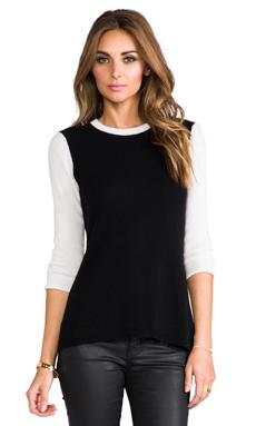 Autumn Cashmere Hi Lo Color Block Button Back Sweater in Black/White