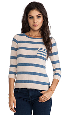 Autumn Cashmere 3/4 Sleeve Striped Sweater in Biscotti Combo
