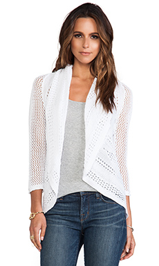 Autumn Cashmere 3/4 Sleeve Pointelle Drape Cardigan in Bleach White