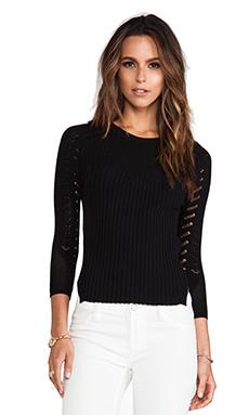 Autumn Cashmere Curved Hem Sweater in Black