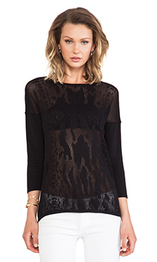 Autumn Cashmere Snake Mesh Sweater in Black