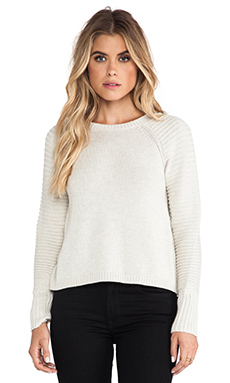 Autumn Cashmere Hi Low Crew Sweater in Hemp