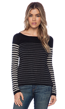Autumn Cashmere Stripe Block Boatneck Sweater in Black & Steel & Charcoal
