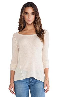 Autumn Cashmere Twist Seam Scoop Sweater in Almond