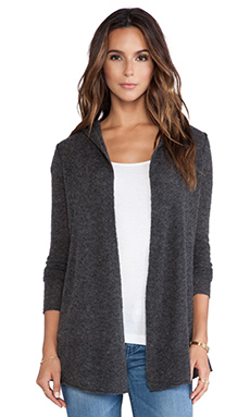 Autumn Cashmere Open Hoodie Duster in Charcoal