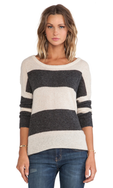 Autumn Cashmere Oversize Rugby Tunic in Almond & Charcoal