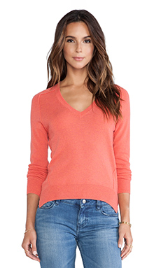 Autumn Cashmere Carved Hem Sweater in Blood Orange