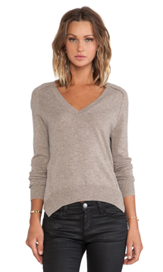 Autumn Cashmere Carved Hem Sweater in Stone