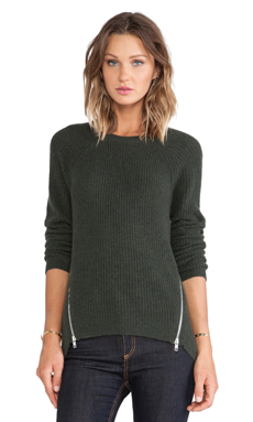 Autumn Cashmere Shaker Stitch Raglan in Moss