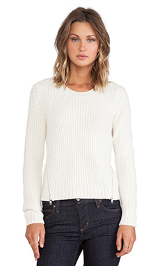 Autumn Cashmere Shaker Stitch Sweater in Winter White