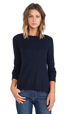Autumn Cashmere Hi Lo Raglan in Navy