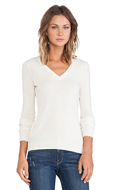 Autumn Cashmere Raw Edge Sweater in Winter White