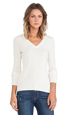 Autumn Cashmere Raw Edge Sweater in Winter White