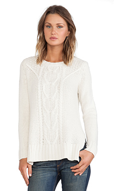 Autumn Cashmere Cable Hi Lo Tunic in Winter White