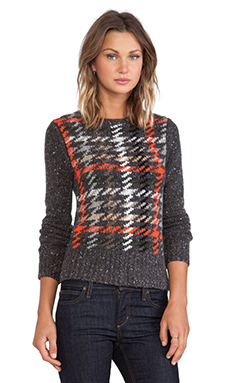 Autumn Cashmere Plaid Crew Sweater in Brimstone Multi Combo
