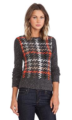 Autumn Cashmere Plaid Crew Sweater in Brimstone Multi Combo