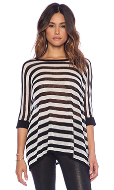 Autumn Cashmere Boxy Stripe Sweater in Black & Oyster