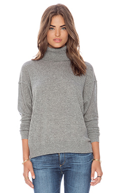 Autumn Cashmere Boxy Turtleneck Sweater in Cement