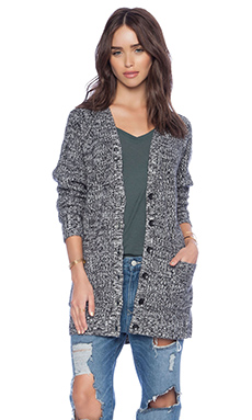 Autumn Cashmere Tweed Boyfriend Cardigan in Ebony & Vanilla