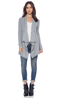 Autumn Cashmere New Rib Drape Cable Sweater in Nickle