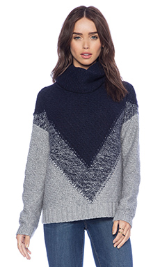 Autumn Cashmere Boxy Chevron Cowl Sweater in Nickle & Peacoat