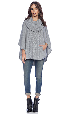 Autumn Cashmere Cable Cowl Poncho in Nickle