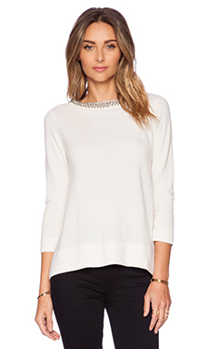Autumn Cashmere Jeweled Neck Trapeze Sweater in White