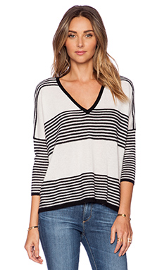 Autumn Cashmere Striped Hi Lo Sweater in Black & White