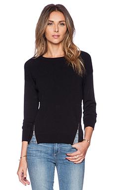 Autumn Cashmere Zipper Texture Sweater in Black