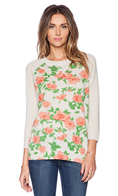 Autumn Cashmere Cabbage Rose Print Sweatshirt in Hemp Combo
