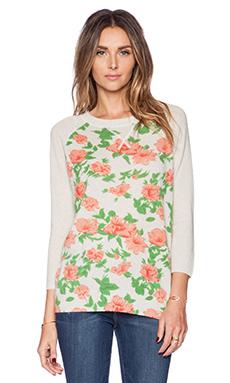 Autumn Cashmere Cabbage Rose Print Sweatshirt in Hemp Combo