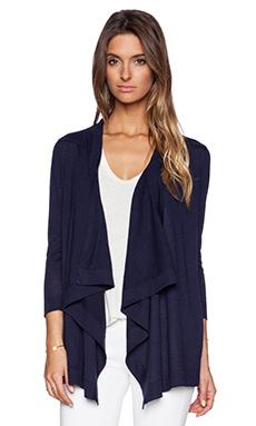 Autumn Cashmere Waterfall Cardigan in Peacoat