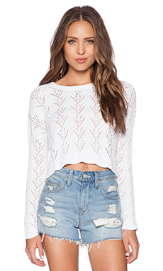 Autumn Cashmere Shell Stitch Crop Sweater in Bleach White