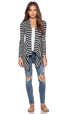 Autumn Cashmere Striped Rib Drape Cardigan in Navy Blue & Sweatshirt