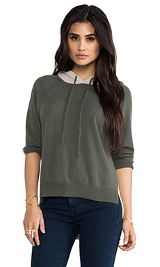 Autumn Cashmere Color Block Mesh Hoodie in Military Combo
