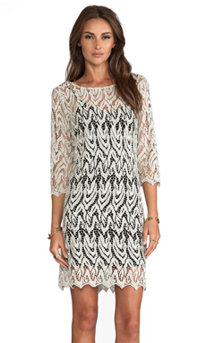 Alexis Soleil Tunic Dress With 3/4 Sleeve in Metallic Taupe