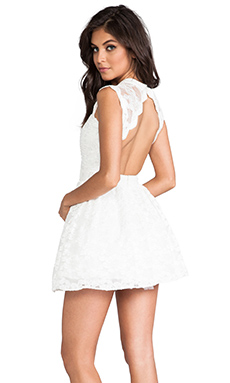 Alexis Vendela Mini Lace Dress in White Lace