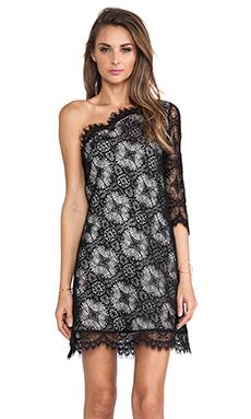 Alexis Richards One Shoulder Crochet Dress in Black Crochet