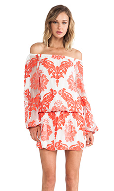 Alexis Rocco Off The Shoulder Dress in Red Orange Embroidery