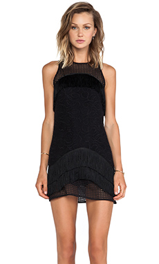 Alexis Tarazon Fringe Detail Mini Dress in Black