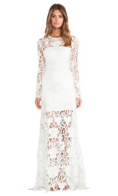 Alexis Begrade Gown in White Embroidered Lace