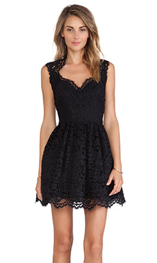 Alexis Antilles Scalloped Detail Lace Dress in Black Lace