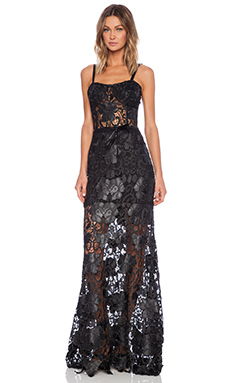 Alexis Monzon Lace Gown in Jet Black Lace