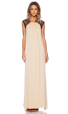 Alexis Gela Open Back Gown in Nude