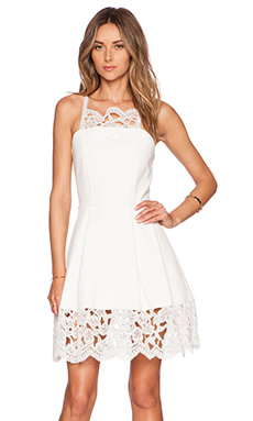 Alexis Cole Embroidered Lace Dress in White